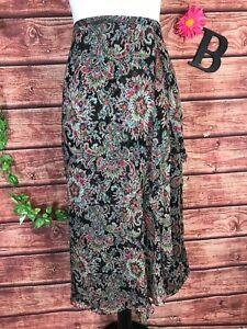 Charter Club Skirt 12 Petite Red Black Sheer Silk Floral Paisley Faux Wrap Midi