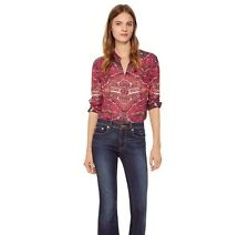 NWT $450 TORY BURCH Kera Marrakech Kilim Print Silk Bow Tie Top Blouse Red Sz 4