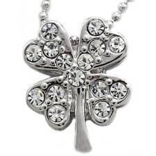 Irish Good Luck Shamrock Charm 4 Leaf Clover Necklace Pendant Jewelry n589clr