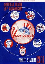 1951 YANKEES PROGRAM PHOTO GREAT GRAPHICS WITH ALL AMERICAN LEAGUE TEAMS 8x10