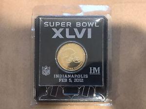 Super Bowl XLVI 46 Championship Etches Acrylic Coin New New York Giants Football