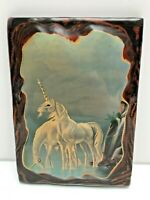 Unicorns Drinking Lakeside Decoupage Lacquered Wood Plaque c 1970s Wall Hanging