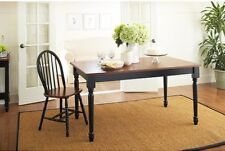 Country Style Dining Table Wood Kitchen Tables Seats 6 Wooden Black & Oak Finish