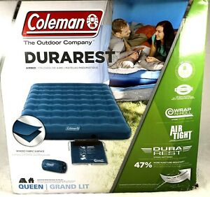 """Coleman DuraRest Single Blue  Airbed, Queen 8"""" High Outdoor Inflatable NEW"""