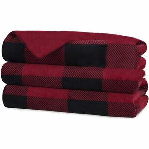Sunbeam Heated Electric Fleece Throw Comforter Blanket w/ Controller, Red Plaid