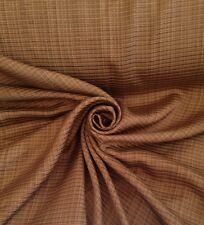 7 Metres Ribbed Stripe Sateen Brocade Luxurious Curtain Fabric In Caramel