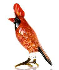 Red Cardinal Glass Figurine, Blown Glass Art, Black Bird Miniature