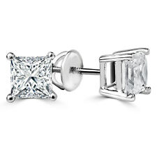 .58 CTW SI2 PRINCESS DIAMOND STUD EARRINGS 14K WHITE GOLD