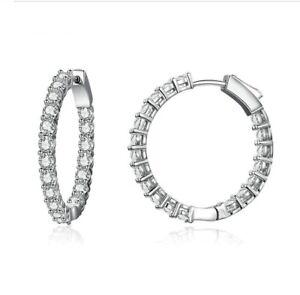 Silver Dazzling Hoop Earrings 925 Silver With CZ