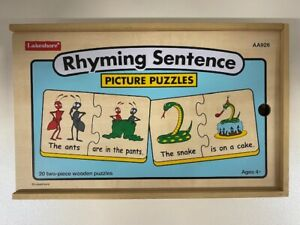 Lakeshore Rhyming Sentence Picture Puzzles AA926 (20 Two-Piece Wooden Puzzles)