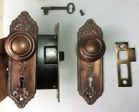 Antique Set EASTLAKE VICTORIAN Art Nouveau Backplate Door Knob Mortise Lock Key