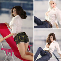 """1/6 Scale White Shirt Jeans Clothes for 12"""" Female Figure Body TBLeague Phicen"""