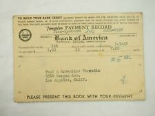 Bank of America Account Time-plan Payment Record Passbook California 1953