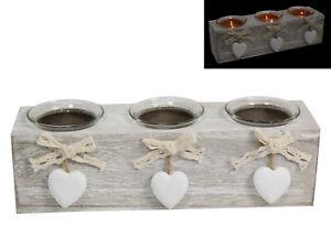25cm Shabby Chic Triple Candle Holder Decor Tealight Boho Hearts