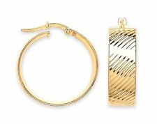 Yellow Gold Large Ribbed Hoop Earrings 24mm