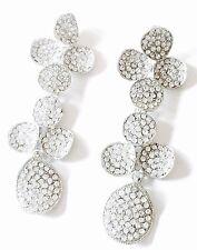 USA EARRING Clear Rhinestone crystal Flower gemstone Dangle FANCY drop Bridal