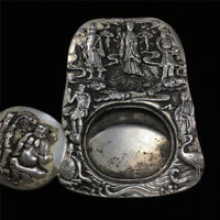 Chinese Old Tibet Silver carved eight immortals Statue desk Ink stone ink slab