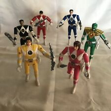 Set of six 1993 Bandai Power Rangers flip head action figures with accessories
