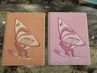 2 1970's TOUCHABLES textured spiral bound theme school NOTEBOOK Wind Surfer