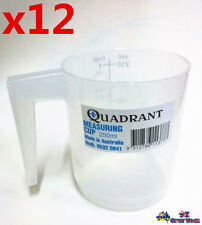 12x Measuring Cup Graduated 250ml Plastic Clear Transparent Jug Quadrant Q113777