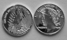 (100) 1 GRAM .999 PURE SILVER ROUND PEACE DOLLAR DESIGN