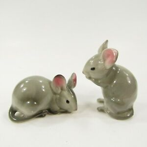 Vintage Salt Pepper Shakers Set Mice Mouse Gray Rats Japan Realistic   Inv365
