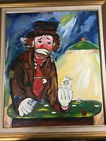 """Large Vintage """"Clown Playing Cards Scene"""" Oil On Canvas Painting - Signed/Framed"""