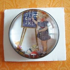 """NEW! Vintage design LARGE SCHOOL DAYS ABCs Bubble Dome Sewing Button 1-3/8"""""""