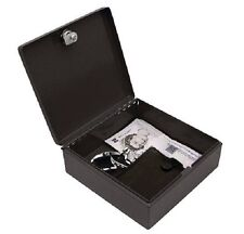 "7"" 17.5cm Bolt Down Steel Security Box Home Office Safe Cash Money Storage BLACK"