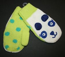 New Gymboree Panda Face White & Lime Green Mittens 2T 3T NWT Color Happy Winter