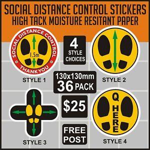 SOCIAL DISTANCING FLOOR DECALS 36 IN PACK 130x130mm MOISTURE RESISTANT MATERIAL
