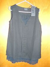 b. young Fully Lined Chiffon Lace Trim Sleeveless V-Neck Top 10 Black BNWT