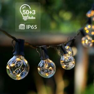 35ft Outdoor String Lights Patio Yard Garden Lighting Waterproof G40 Globe Bulbs