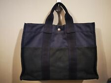 Authentic HERMES fourre-tout Navy Blue/Black Handbag Canvas