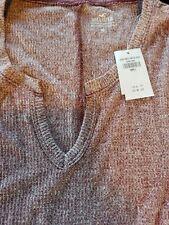 Hollister Women's sz S Marron/white Must-Have Collection Split Neck T-Shirt Top