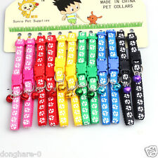 12PCS/Lot Dog Collars Pet Cat Nylon Collar W/Bell Necklace Buckle Wholesale