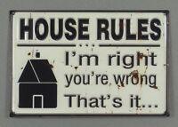 Clayre & Eef - HOUSE RULES - 30 x 20 cm - Shabby Metallschild Schild - 6Y1601