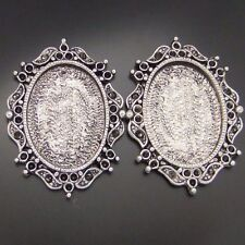 04680 Antique Silver Tone Oval Beauty Lace Photo Frame 25*19 Cameo Setting 16pc