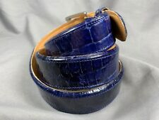 "Genuine Blue Alligator-Crocodile skin Waist 37-38 Belt Size 39-40 x 1.5"" width"