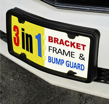 License Plate Frame, Bracket & Bumper Guard. black tag holder mount front ld mrc