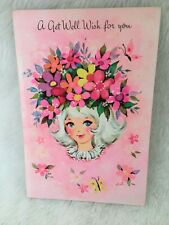 Unused VTG Mid-century Greeting Card Get Well White HAIR Girl HAT OLYMPICARD DD