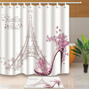 Paris Eiffel Tower with High Heels Fabric Shower Curtain Set Bathroom & 12 Hooks