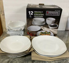 Denmark 12 Pc Commercial Grade Vitrified Porcelain White Square Dinnerware Set