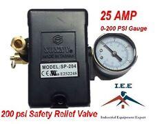 25 AMP Air Compressor Pressure Switch 4 Port 145-175 PSI w/ Gauge pop off valve