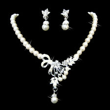 Wedding Party Jewelry Set Crystal Pearl Necklace Earrings Silver Plated