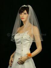 1T Ivory Bridal Shoulder Short Length Rattail Edge Wedding Veil