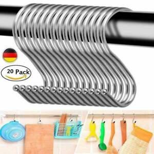 20x Edelstahl S-Haken Räucherhaken Metzgerhaken Fleischerhaken Küchenhaken