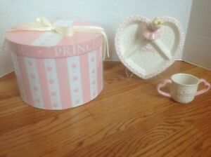 Mud Pie PRINCESS 2-Piece Gift Set in Box ~ Divided Plate & 2-Handled Cup Ceramic
