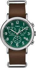 """Timex TW2P97400, """"Weekender"""" Brown Leather Watch, Chronograph, Indiglo, Date"""