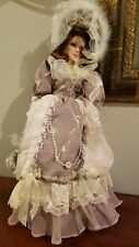 """New Vintage Victorian Porcelain 24"""" Standing doll with Lace Overlay Gown & Hat"""